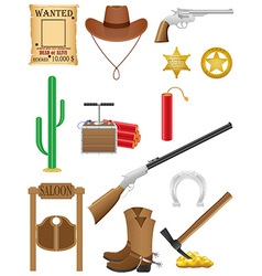 western set icons wild west vector image