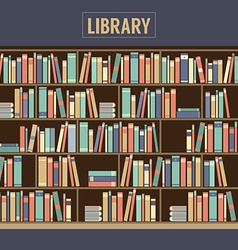 Bookcase In Library vector image