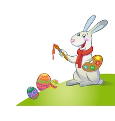 Cute easter bunny holding brush vector