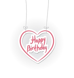 Happy birthday pink heart on white background vector