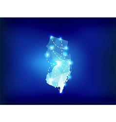 New jersey state map polygonal with spot lights vector