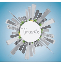 Toronto skyline with grey buildings vector