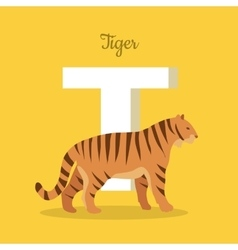 Animals alphabet letter - t vector