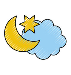 Cloud with moon weather icon vector