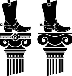 columns and boots with spurs stencils vector image vector image