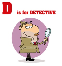 Detective cartoon with letter vector image vector image