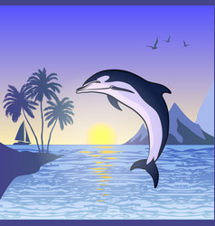 Dolphin against the sunset background vector