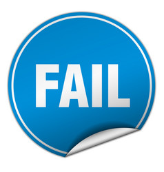 Fail round blue sticker isolated on white vector