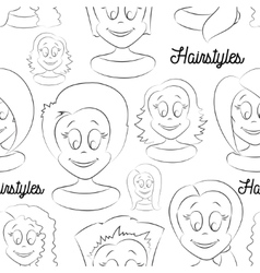 Fashion female avatars Hairstyles pattern vector image
