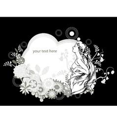 floral frame with vintage girl vector image vector image