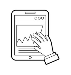 Hand user with smartphone device isolated icon vector
