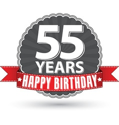 Happy birthday 55 years retro label with red vector