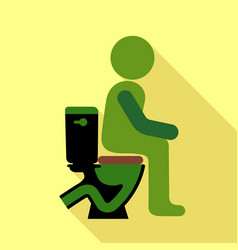 Man sitting on the toilet icon flat style vector