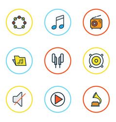 Multimedia colored outlines set collection of vector