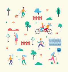 pattern made of minimalistic characters on walk vector image vector image