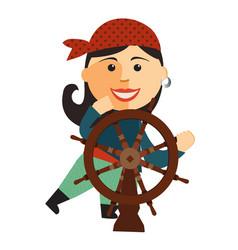 pirate girl at the rudder flat cartoon vector image