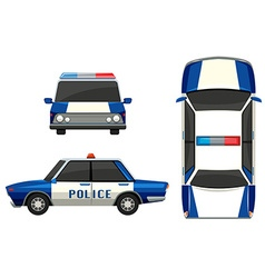 Police car in three different angles vector