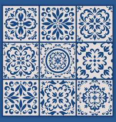 Portuguese tiles with azulejo ornaments vector