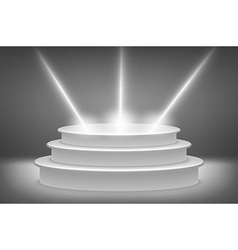Round podium illuminated by spotlights Image vector image vector image