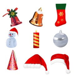 set of realistic christmas icons on white backgrou vector image vector image