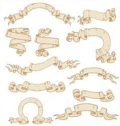 Set of ribbons-banners scrolls of parchment vector