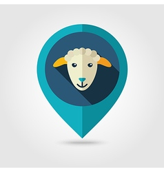 Sheep flat pin map icon Animal head vector image