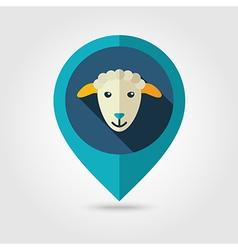 Sheep flat pin map icon Animal head vector image vector image