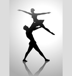 silhouette of a couple dancing ballet vector image vector image