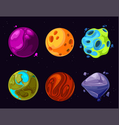 Space planets asteroid moon fantastic world vector