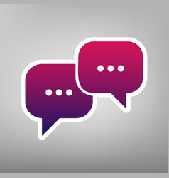 Speech bubbles sign purple gradient icon vector