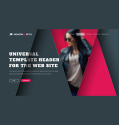 template of a universal header with triangular vector image vector image