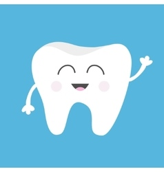 Tooth health icon cute funny cartoon smiling vector
