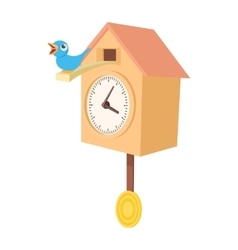 Vintage wooden cuckoo clock icon cartoon style vector image