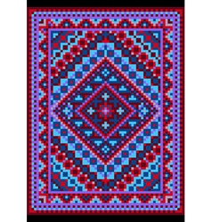 Vivid carpet old style in blue and purple shades vector