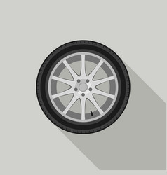 wheel flat icon vector image vector image