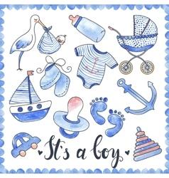 Baby Boy Watercolor Elements Set vector image