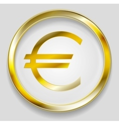 Concept golden euro symbol logo button vector