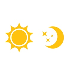 Sun and moon flat icon logo for web design mobile vector image