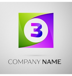 Number three logo symbol in the colorful square on vector