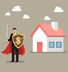 Businessman protecting house with shield and sword vector image