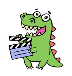 Cute smiling dinosaur with movie clapper board vector