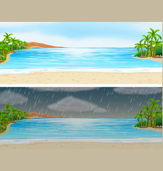 Two scenes of ocean on sunny and rainy days vector