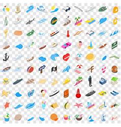 100 coast icons set isometric 3d style vector