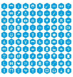 100 recreation icons set blue vector