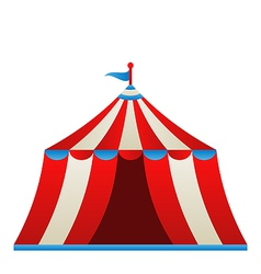 Open circus stripe tent isolated on white vector