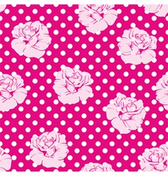 Roses and polka dots pink floral background vector image