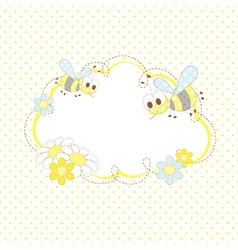 Baby background with bees and flowers vector