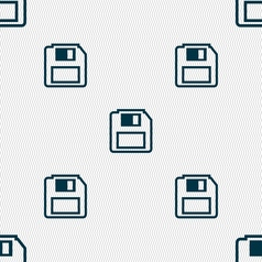 Floppy disk icon sign seamless pattern with vector