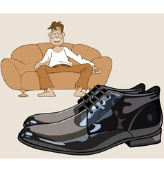 Cartoon man sitting on the couch looking at shoes vector