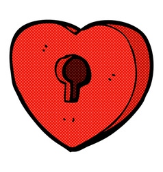 Comic cartoon heart with keyhole vector
